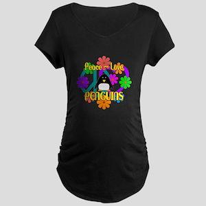 Peace Love Penguins Maternity Dark T-Shirt