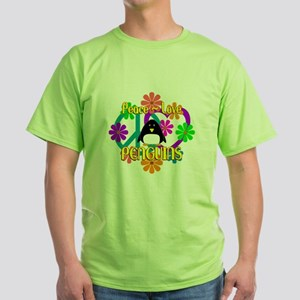 Peace Love Penguins Green T-Shirt