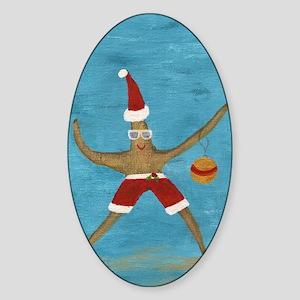 Christmas Starfish Sticker (Oval)