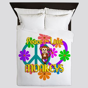 Peace Love Monkeys Queen Duvet