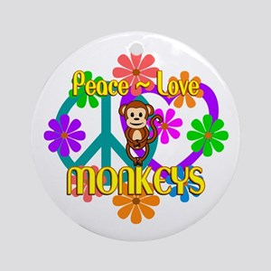 Peace Love Monkeys Round Ornament