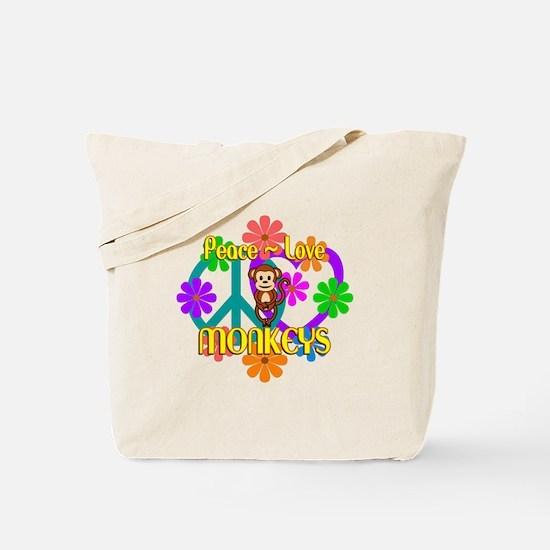 Peace Love Monkeys Tote Bag