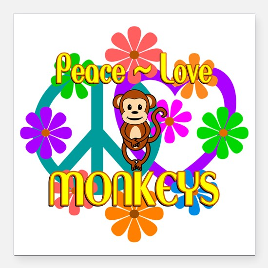 "Peace Love Monkeys Square Car Magnet 3"" x 3"""