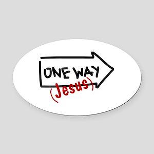 OneWay_4Light Oval Car Magnet