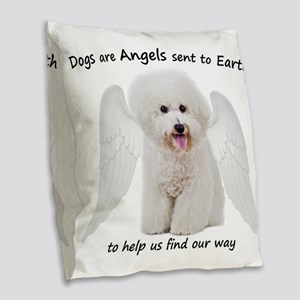 Bichons are Angels Burlap Throw Pillow