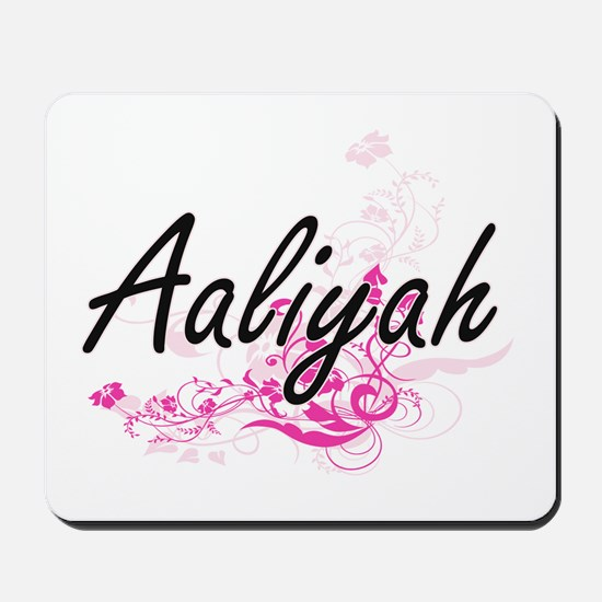 Aaliyah Artistic Name Design with Flower Mousepad
