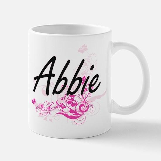Abbie Artistic Name Design with Flowers Mugs
