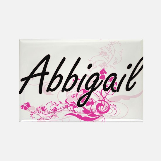 Abbigail Artistic Name Design with Flowers Magnets