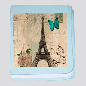 floral paris vintage eiffel tower baby blanket