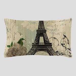 floral paris vintage eiffel tower Pillow Case