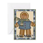 Got Milk Gingerbread (pk Of 10) Greeting Cards