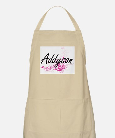 Addyson Artistic Name Design with Flowers Apron
