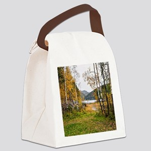 Autumn Lake View Canvas Lunch Bag