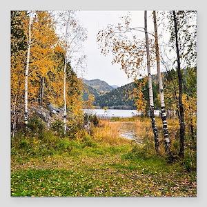 "Autumn Lake View Square Car Magnet 3"" x 3"""