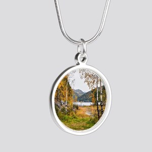 Autumn Lake View Silver Round Necklace