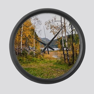 Autumn Lake View Large Wall Clock