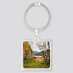 Autumn Lake View Square Keychain