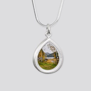 Autumn Lake View Silver Teardrop Necklace