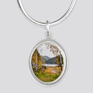 Autumn Lake View Silver Oval Necklace