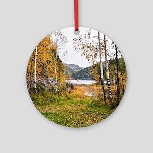 Autumn Lake View Round Ornament