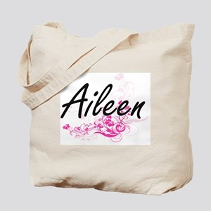 Aileen Artistic Name Design with Flowers Tote Bag