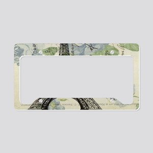 floral paris vintage eiffel t License Plate Holder