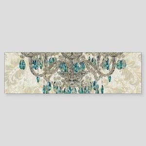 shabby chic damask vintage chandeli Bumper Sticker