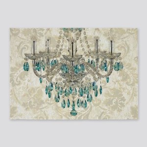 shabby chic damask vintage chandeli 5'x7'Area Rug