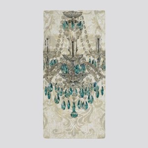 shabby chic damask vintage chandelier Beach Towel
