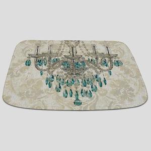shabby chic damask vintage chandelier Bathmat