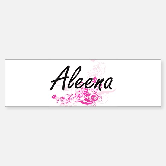Aleena Artistic Name Design with Fl Bumper Bumper Bumper Sticker