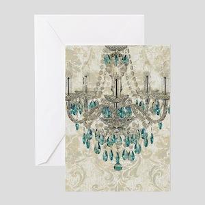 shabby chic damask vintage chandeli Greeting Cards