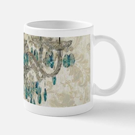 shabby chic damask vintage chandelier Mugs