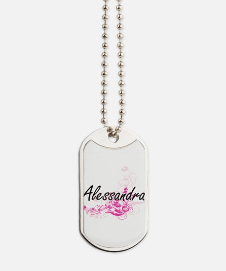 Alessandra Artistic Name Design with Flow Dog Tags
