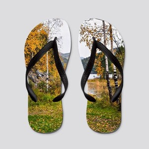 Autumn Lake View Flip Flops
