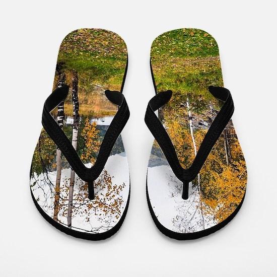 Autumn Lake View Flip Flops