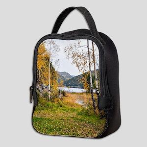 Autumn Lake View Neoprene Lunch Bag