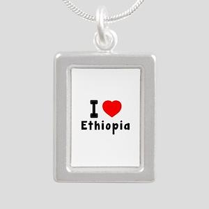 I Love Ethiopia Silver Portrait Necklace