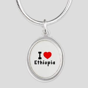I Love Ethiopia Silver Oval Necklace