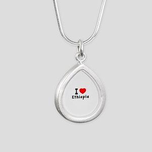 I Love Ethiopia Silver Teardrop Necklace