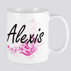 Alexis Artistic Name Design with Flowers Mugs