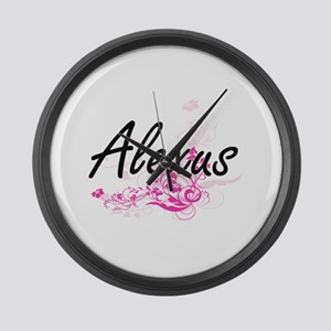 Alexus Artistic Name Design with Large Wall Clock