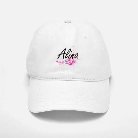 Alina Artistic Name Design with Flowers Baseball Baseball Cap
