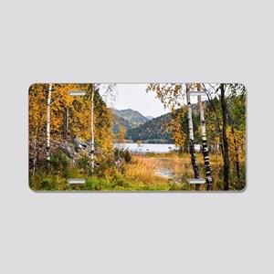 Autumn Lake View Aluminum License Plate