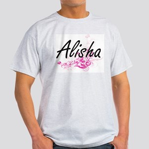 Alisha Artistic Name Design with Flowers T-Shirt