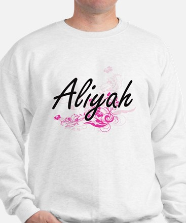 Aliyah Artistic Name Design with Flower Sweater