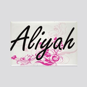 Aliyah Artistic Name Design with Flowers Magnets