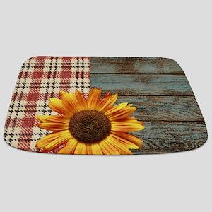 primitive country plaid burlap sunflower Bathmat
