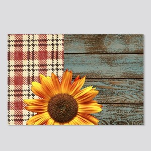 primitive country plaid b Postcards (Package of 8)