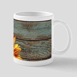 primitive country plaid burlap sunflower Mugs